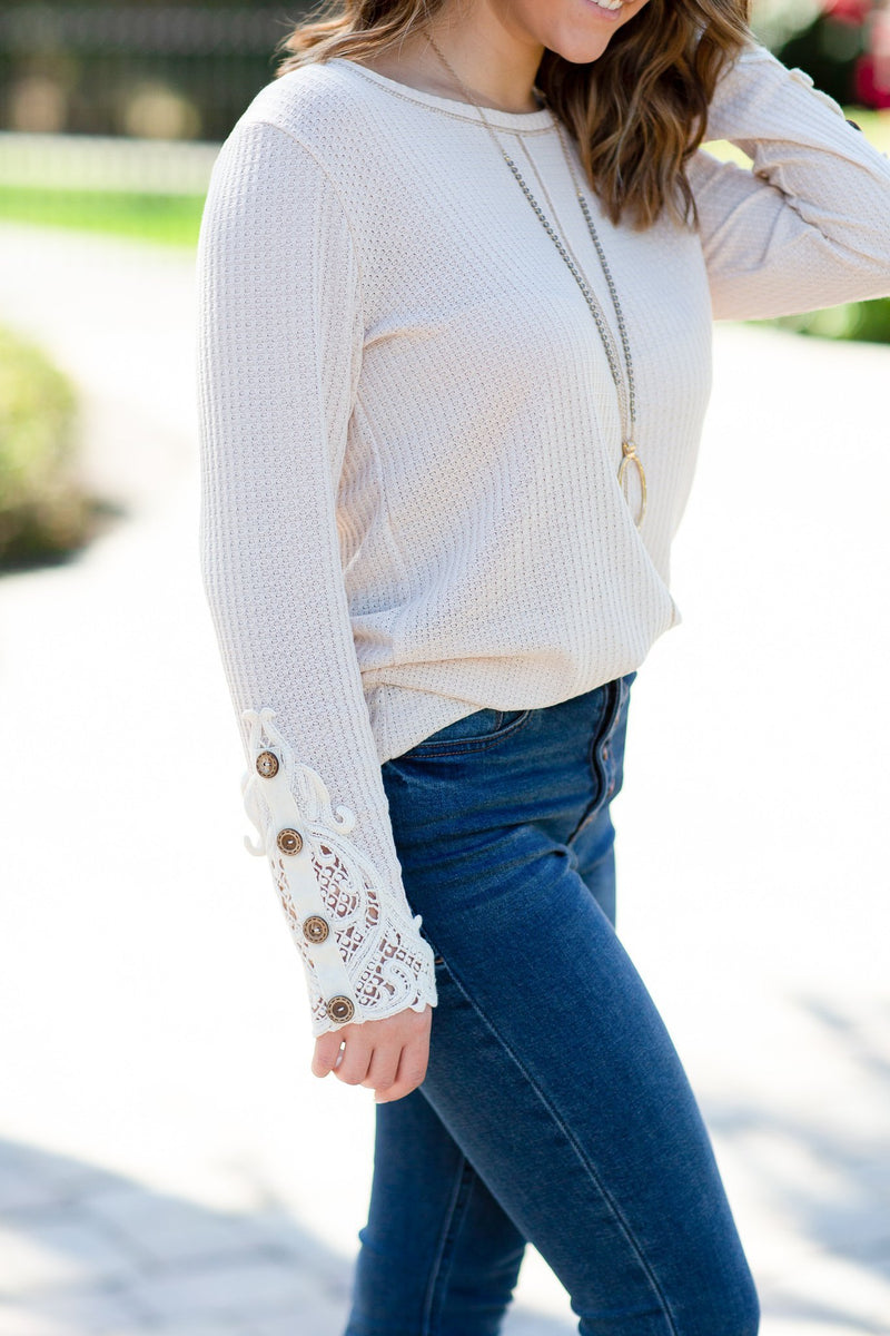 Diamonds Stay With You Lace Sleeve Top - Hollie's Boutique