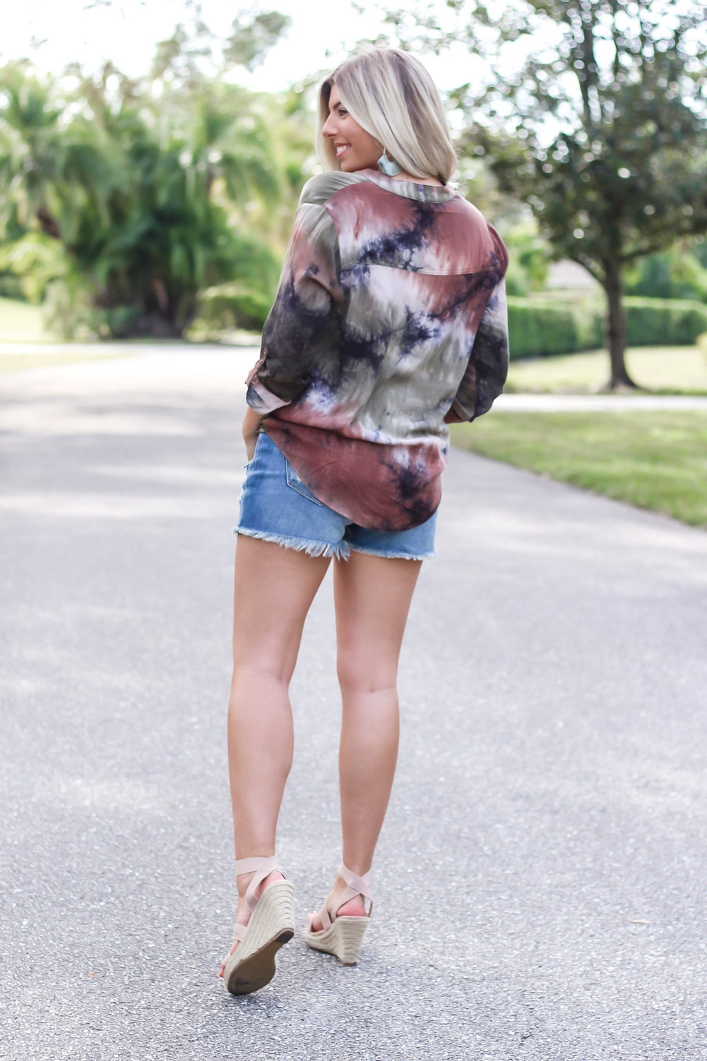 Forgetful Heart Tie Dye Surplice Top - Hollie's Boutique