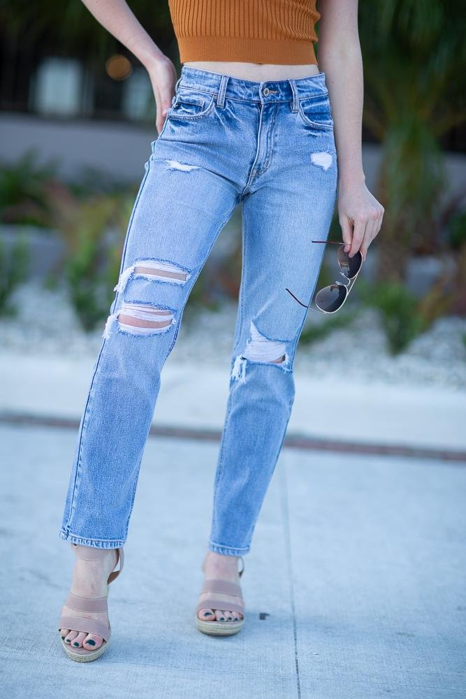 Gemma High Rise Distressed straight Leg Jeans - Hollie's Boutique