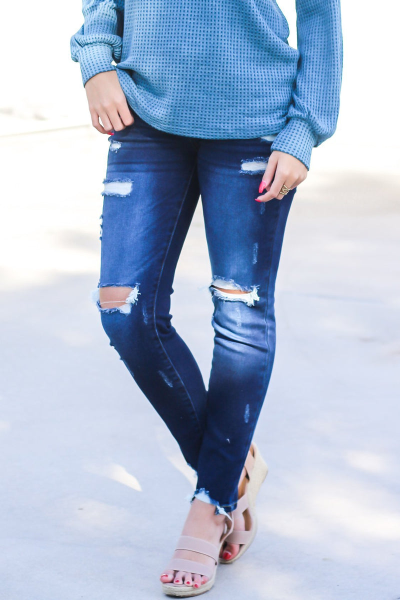 Gemma Mid Rise Super Skinny Jeans - Hollie's Boutique