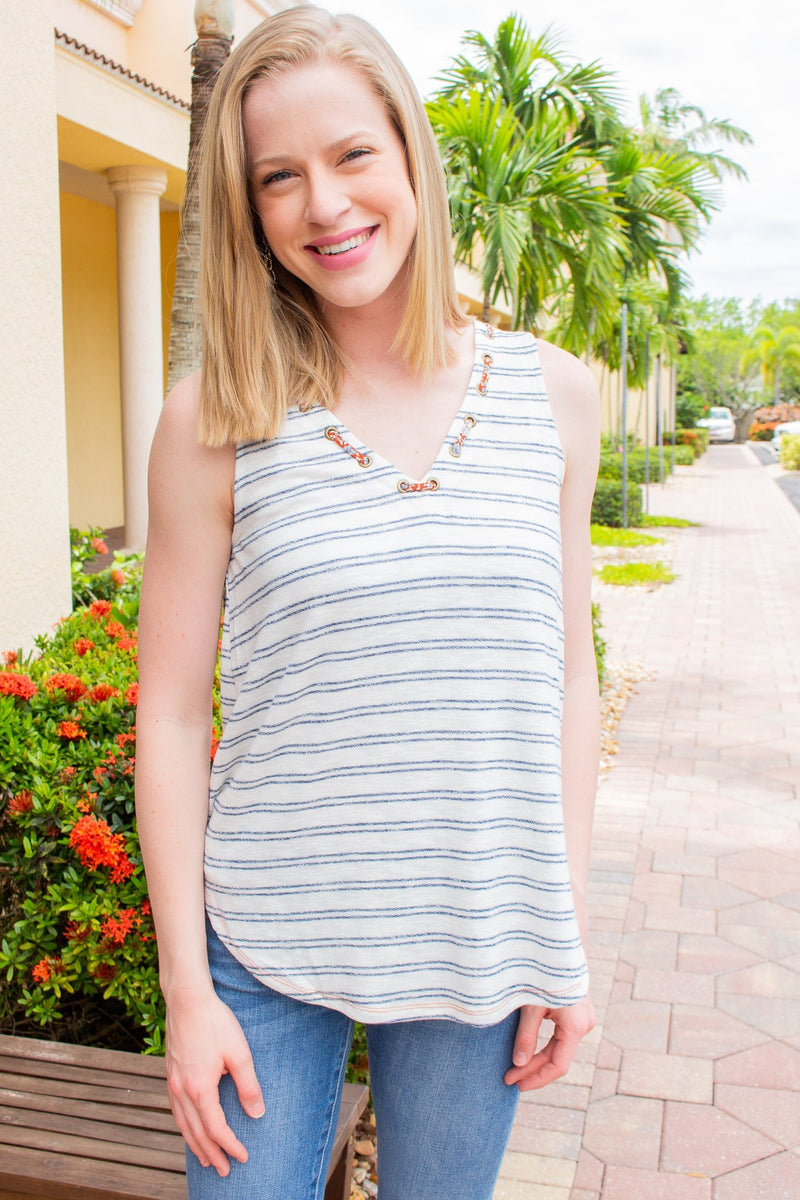 Grommet VNeck Tank - Hollie's Boutique