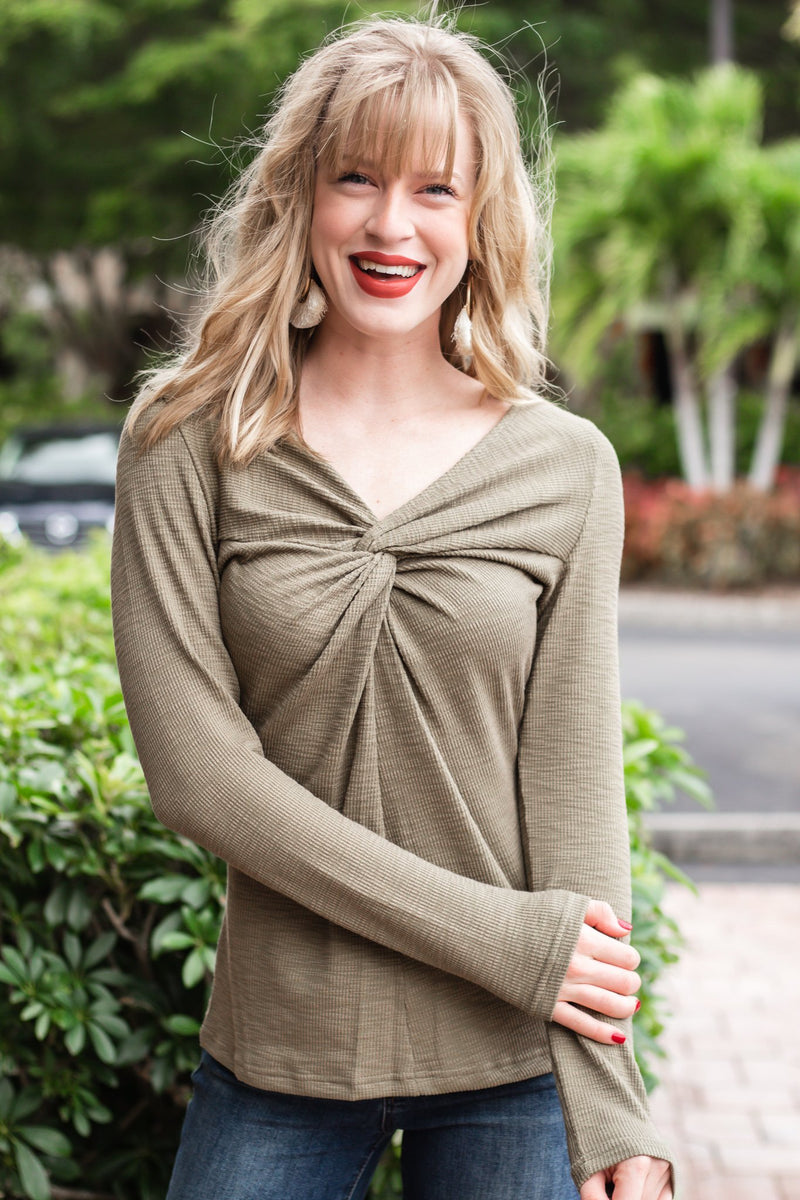 Having Fun Olive Knot Front Top - Hollie's Boutique