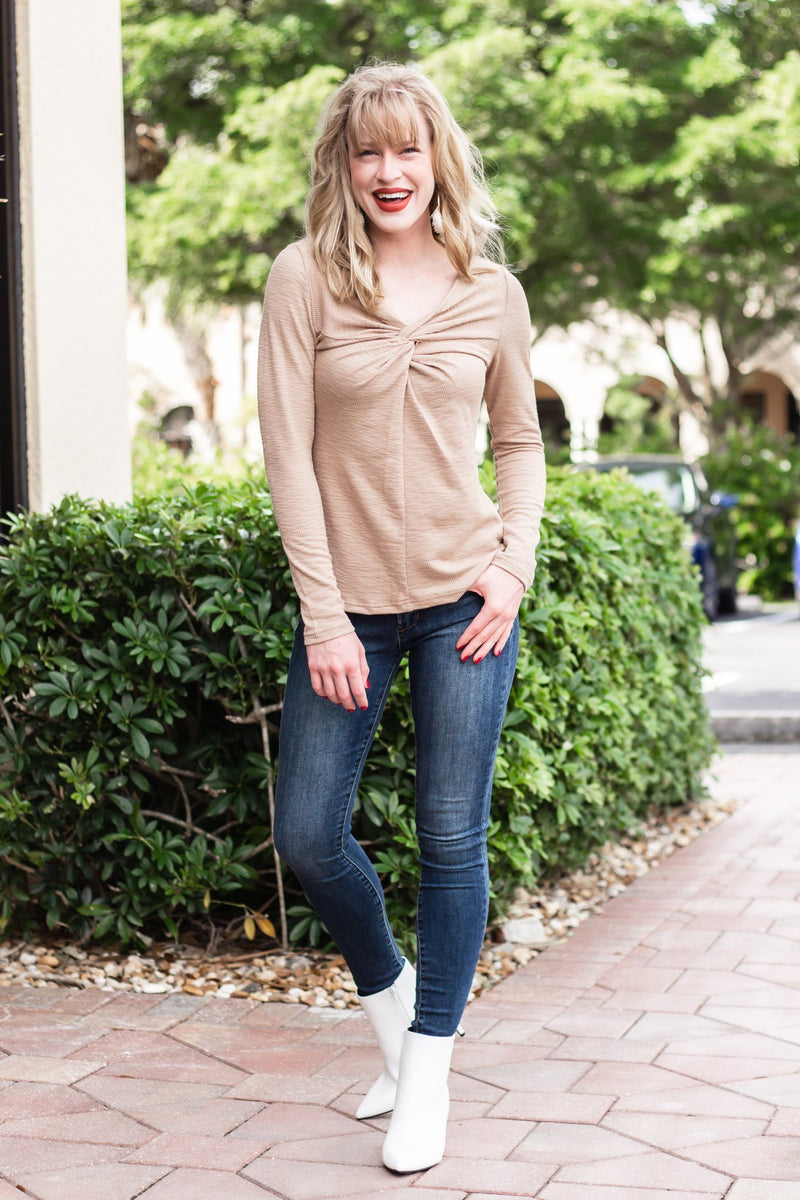 Having Fun Taupe Knot Front Top - Hollie's Boutique
