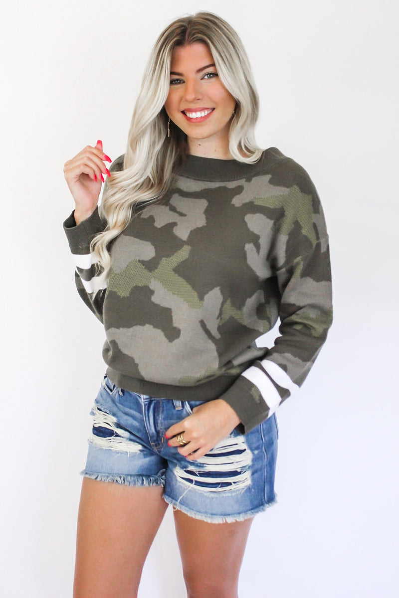 Hold Me Tight Camo Sweater - Hollie's Boutique