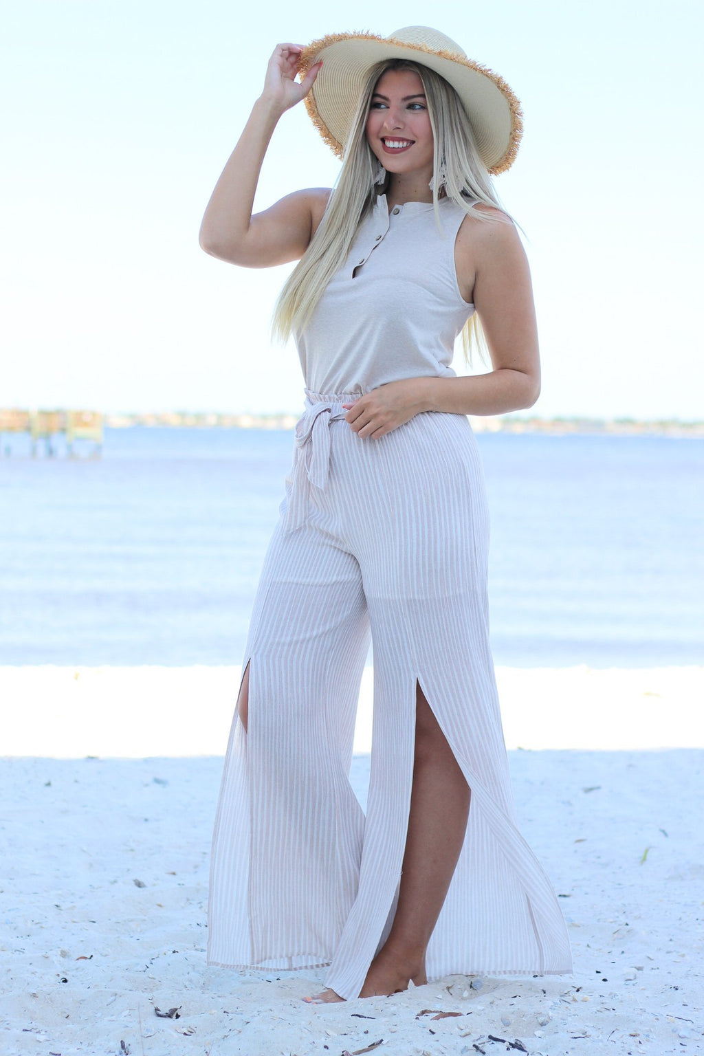How Great Stripe High Waist Pants - Hollie's Boutique