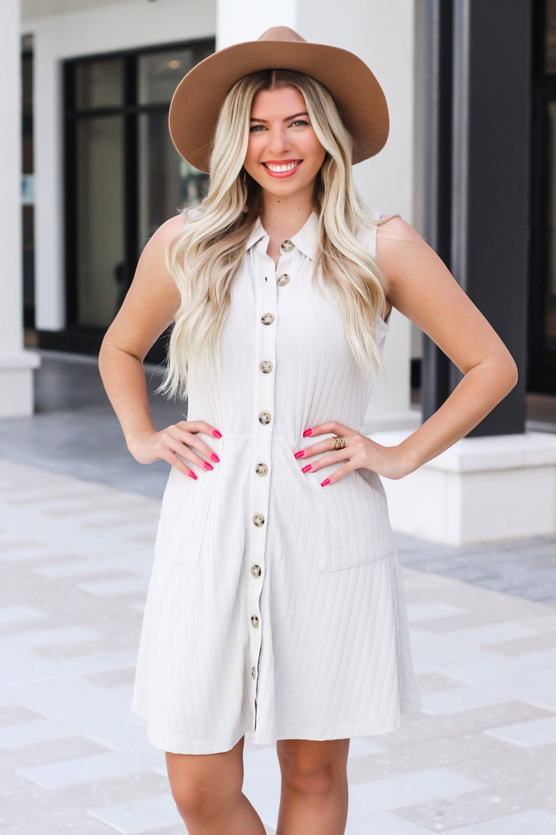 I Hope You Are Happy Button Down Dress - Hollie's Boutique