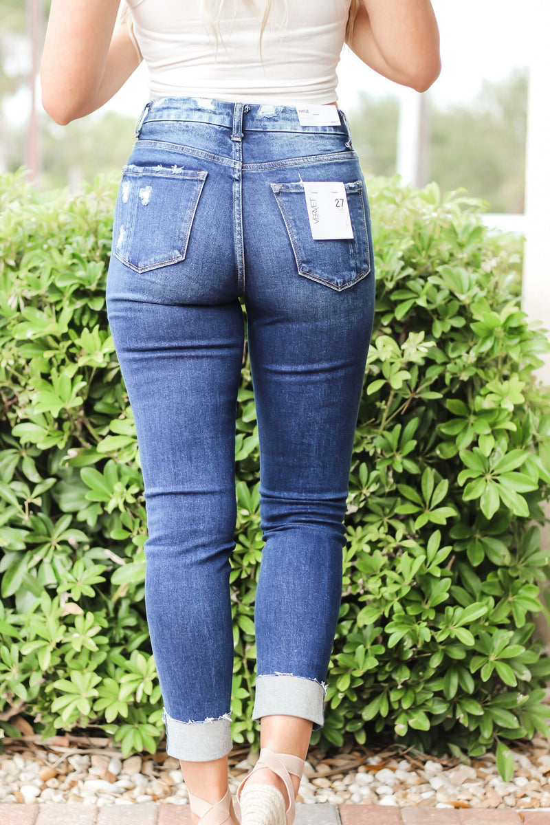 Kaia High Rise Distressed Crop Skinny Jeans - Hollie's Boutique