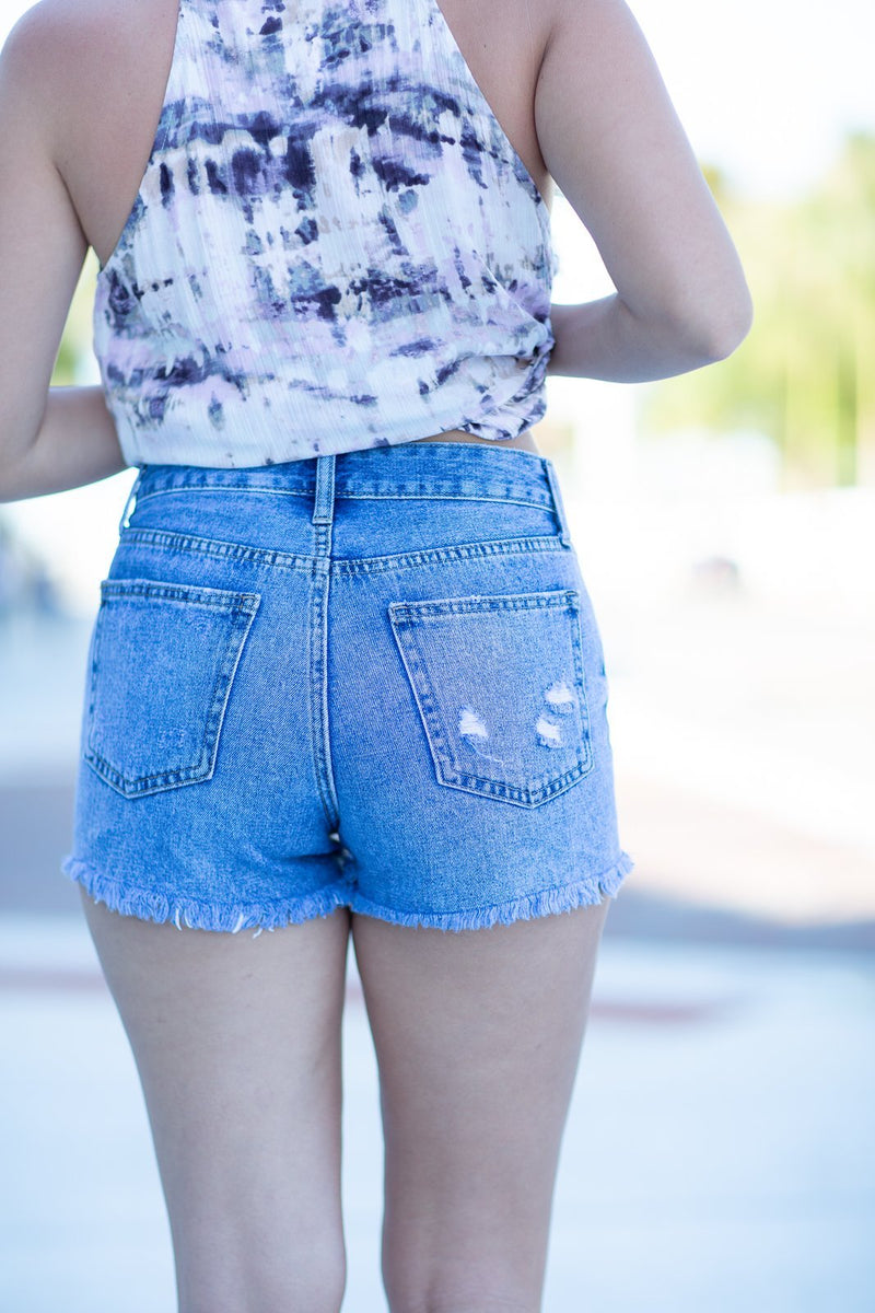 Keep My Cool High Rise Distressed Denim Shorts - Hollie's Boutique