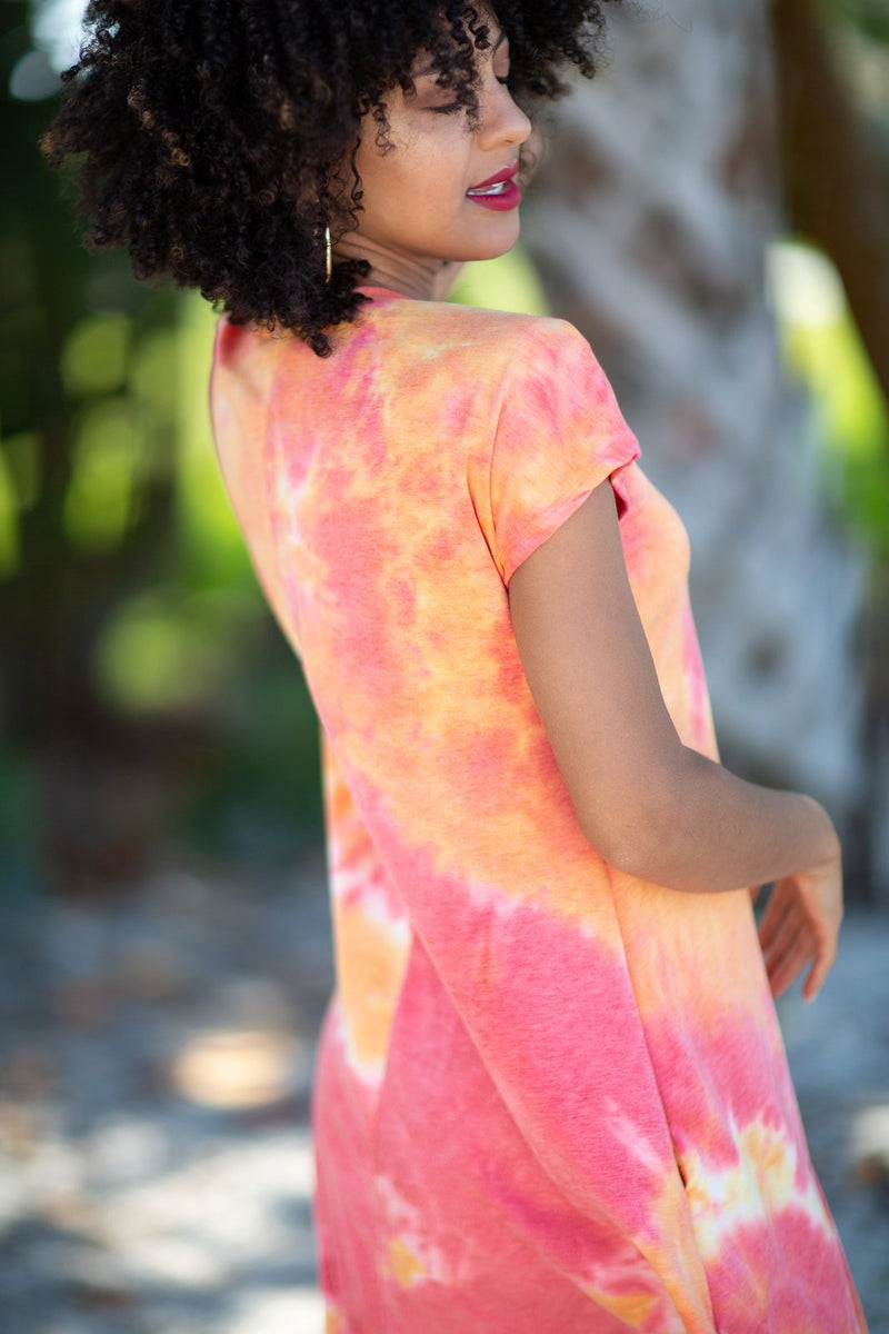 Let Me Take You Dancing Tie Dye Dress Coral - Hollie's Boutique