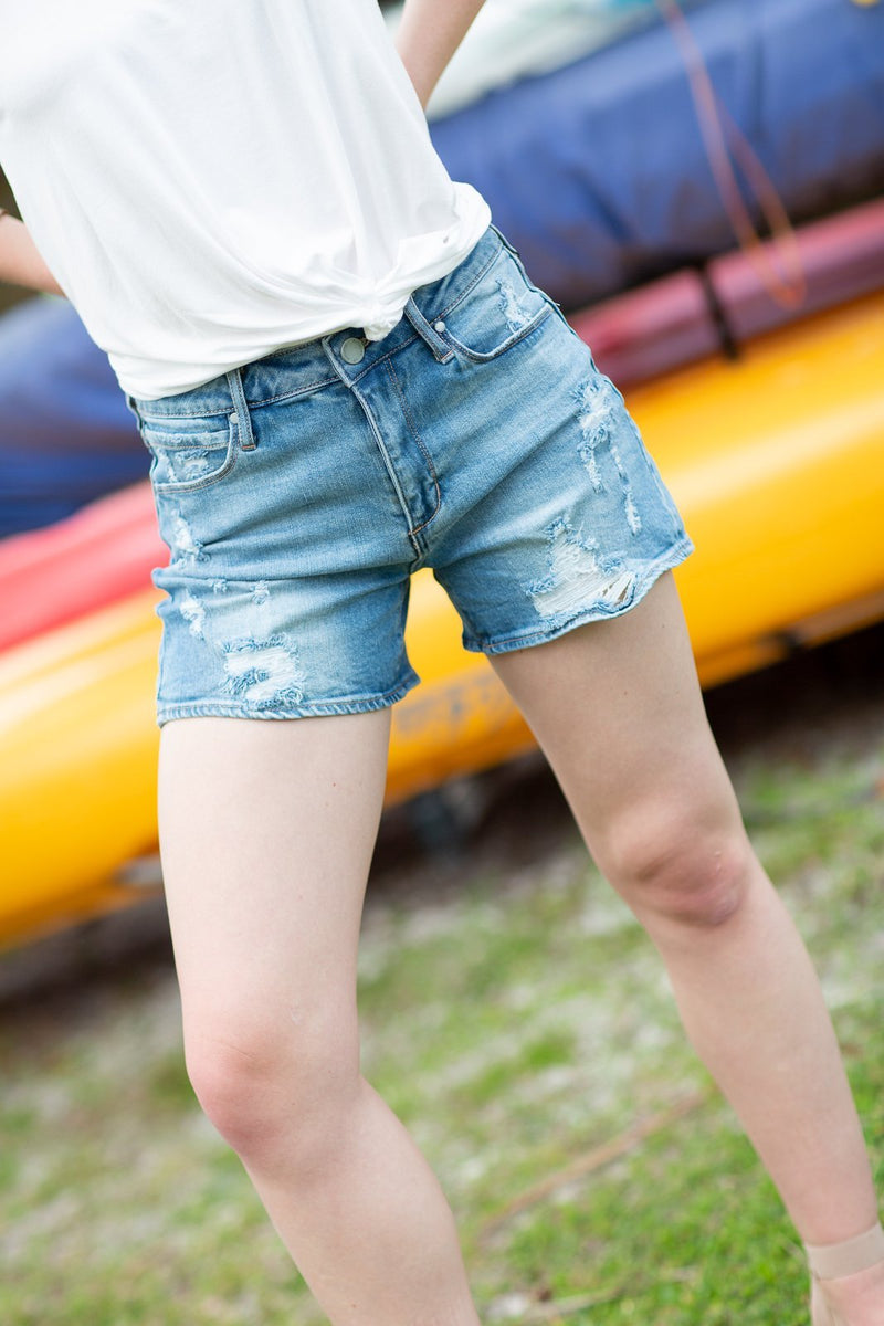 Light Wash High Rise Distressed Shorts Light Wash - Hollie's Boutique