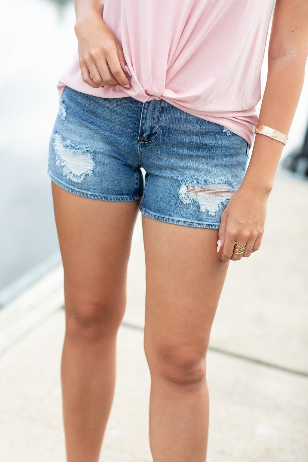 Light Wash High Rise Distressed Shorts Medium Wash - Hollie's Boutique