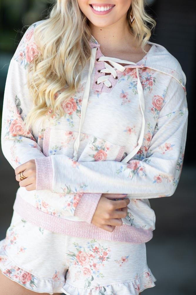 Living My Dream Floral Hoodie - Hollie's Boutique