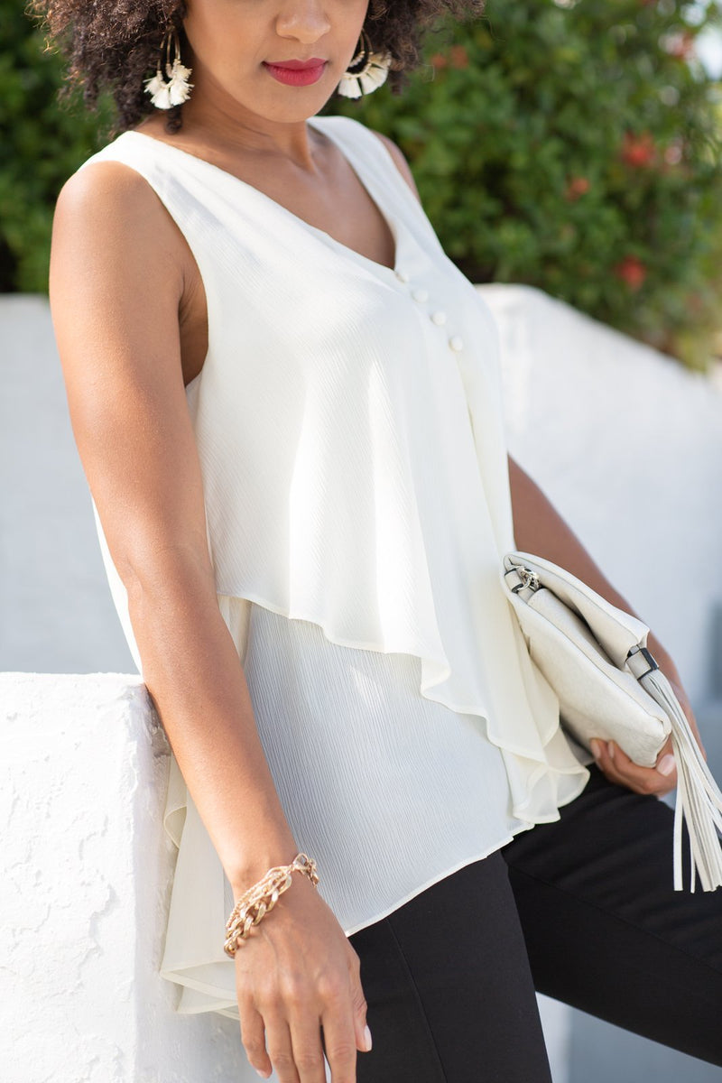 Looking Back Pleated Sleeveless Top - Hollie's Boutique