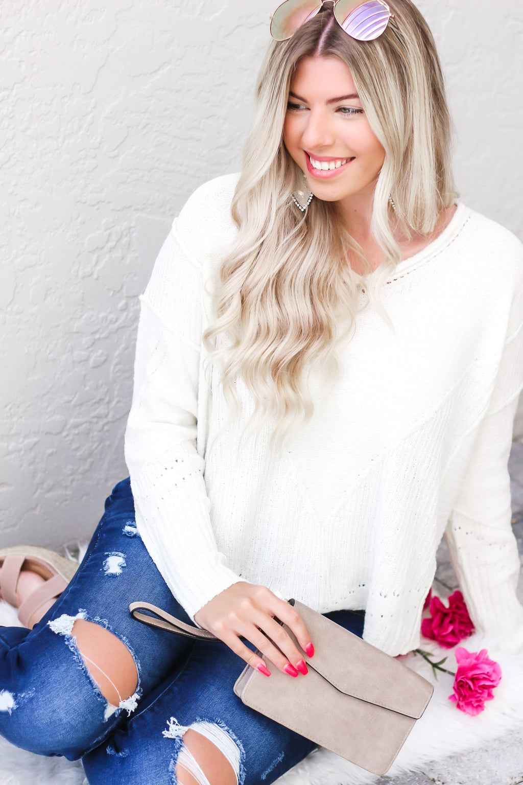 Love Someone Textured Sweater - Hollie's Boutique