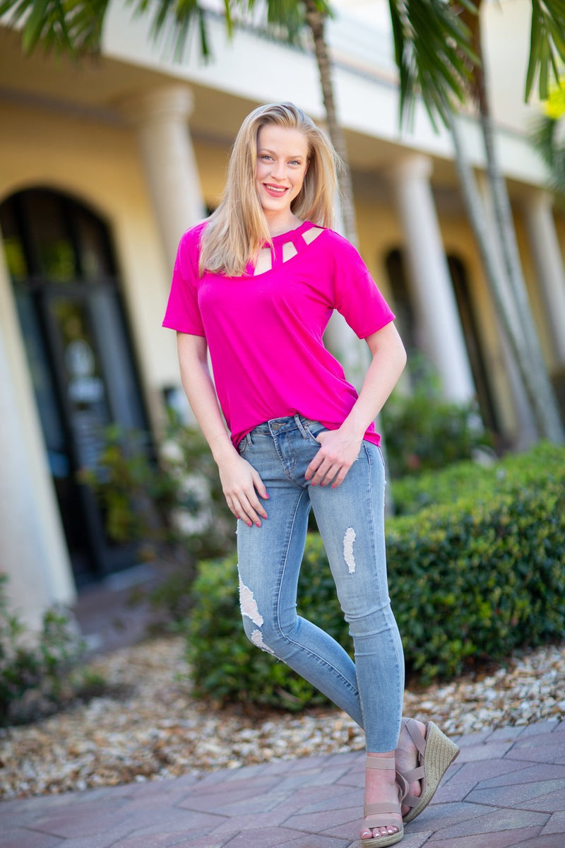 Lovely Day Cut Out Top Fuchsia - Hollie's Boutique
