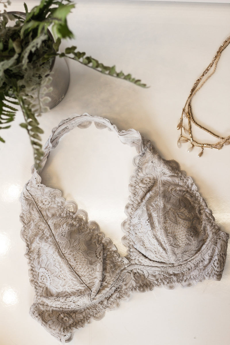 Lovely Floral Light Grey Halter Bralette - Hollie's Boutique