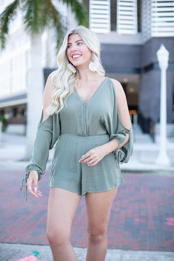 Loving Soul Woven Romper - Hollie's Boutique