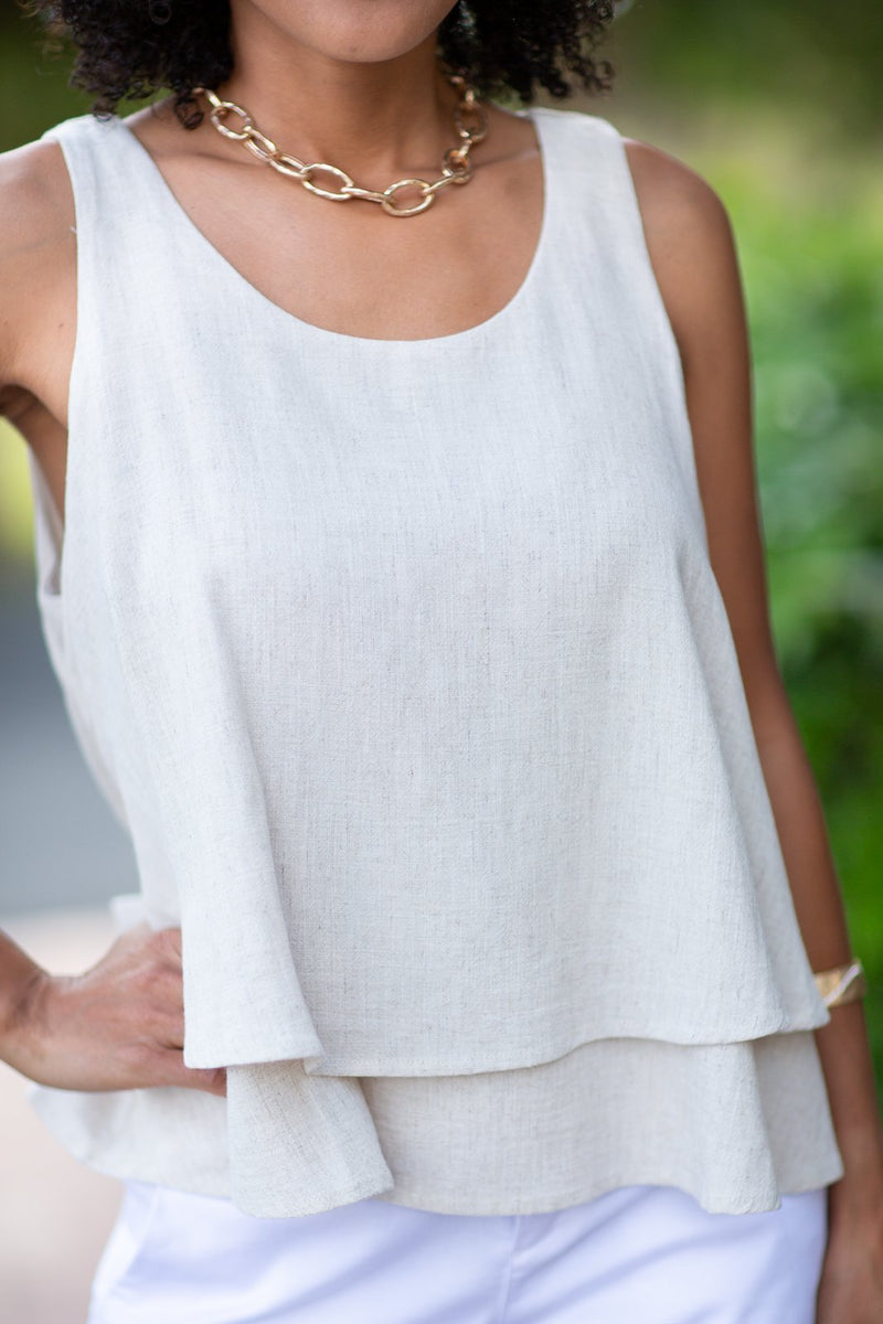 Matter Of Time Layered Linen Tank - Hollie's Boutique