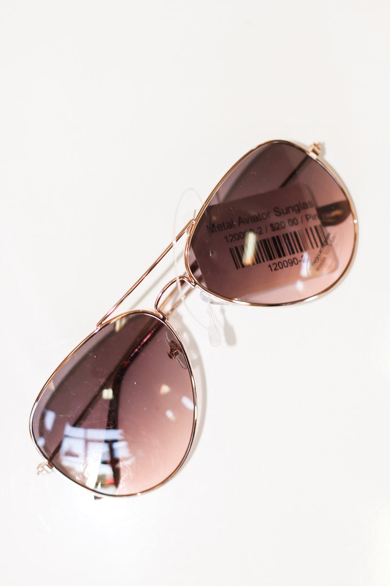 Metal Aviator Sunglasses - Hollie's Boutique