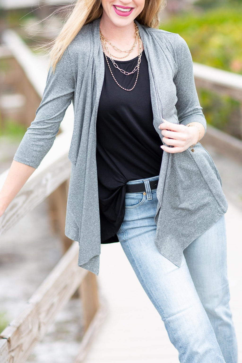 Must Be Love Draped Cardigan Grey - Hollie's Boutique