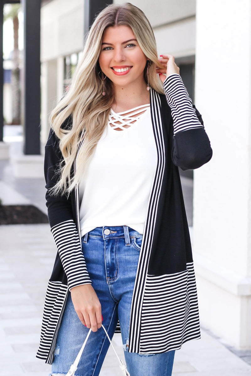 My Help Comes From Above Stripe Cardigan - Hollie's Boutique