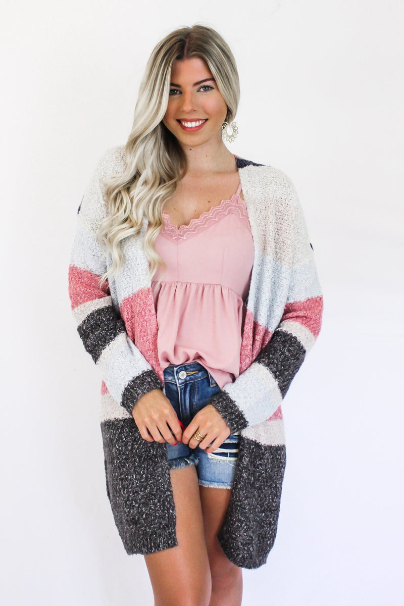 Rumor Going Around Color Block Cardi - Hollie's Boutique