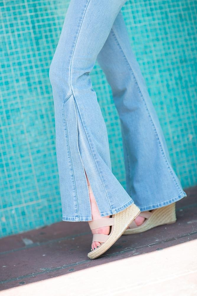 Side Slit Denim Pants - Hollie's Boutique