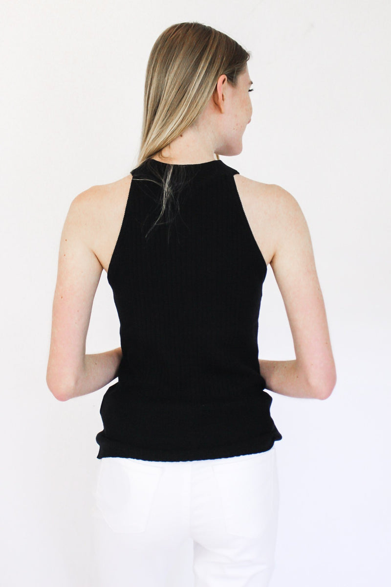 Something Missing Halter Tank Black - Hollie's Boutique