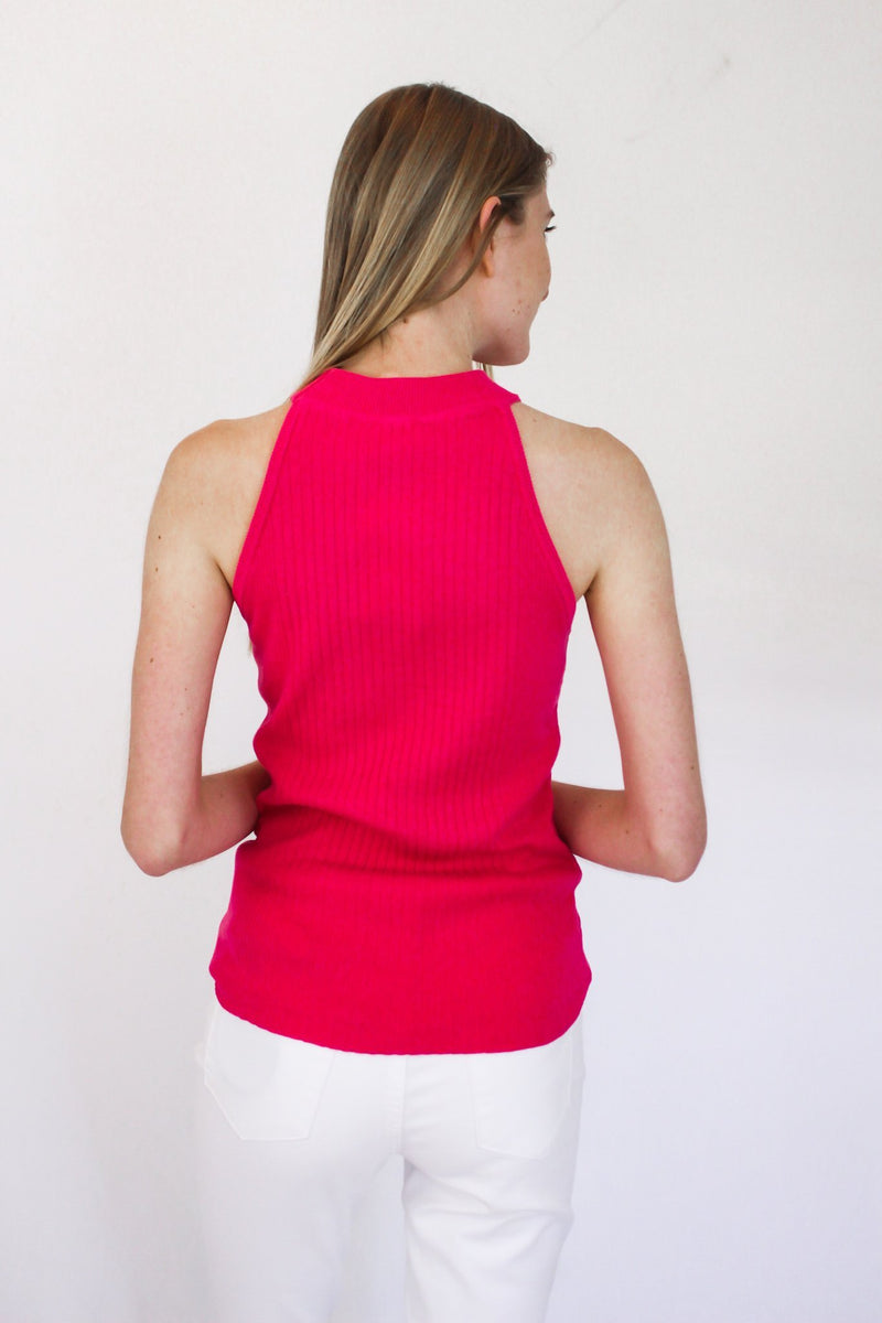 Something Missing Halter Tank Hot Pink - Hollie's Boutique