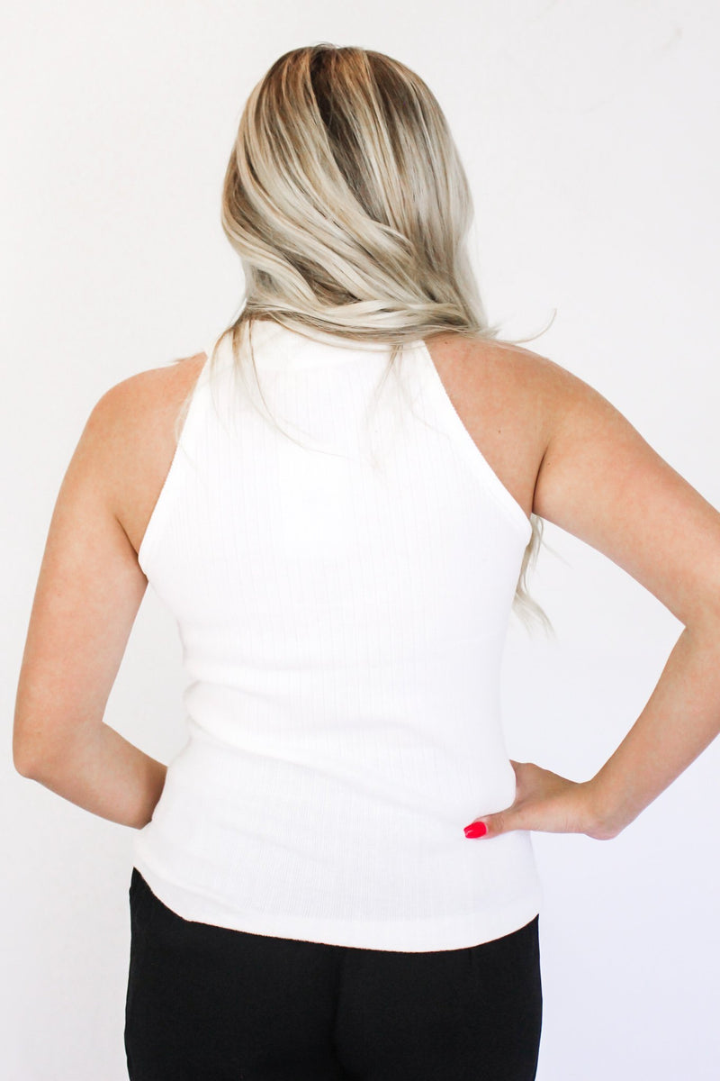 Something Missing Halter Tank White - Hollie's Boutique