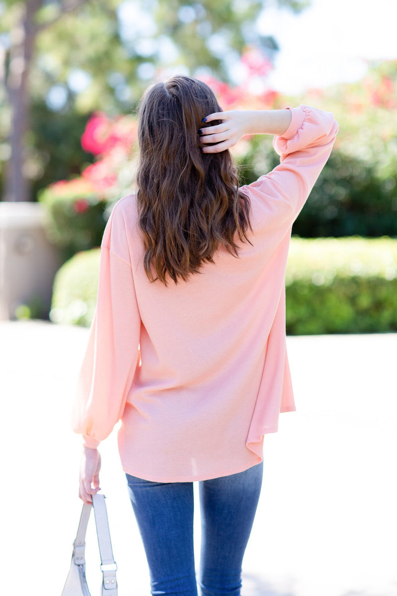 Sunrise Waffle Knit Top - Hollie's Boutique