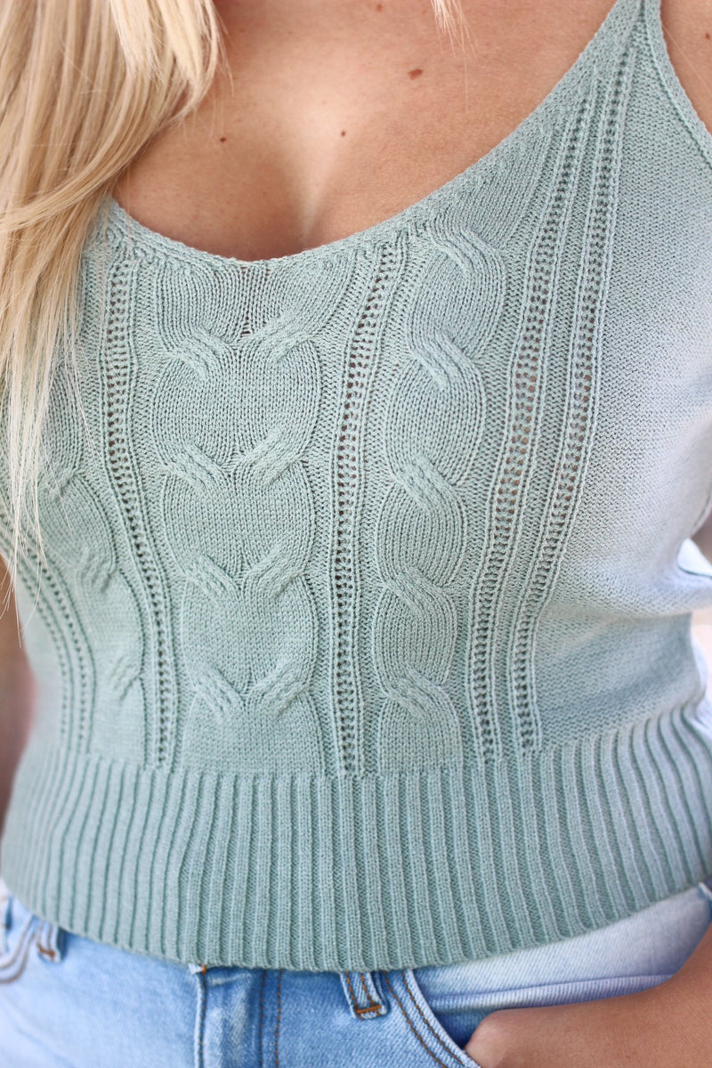 Take Me Out Cable Knit Sweater Tank Sage - Hollie's Boutique