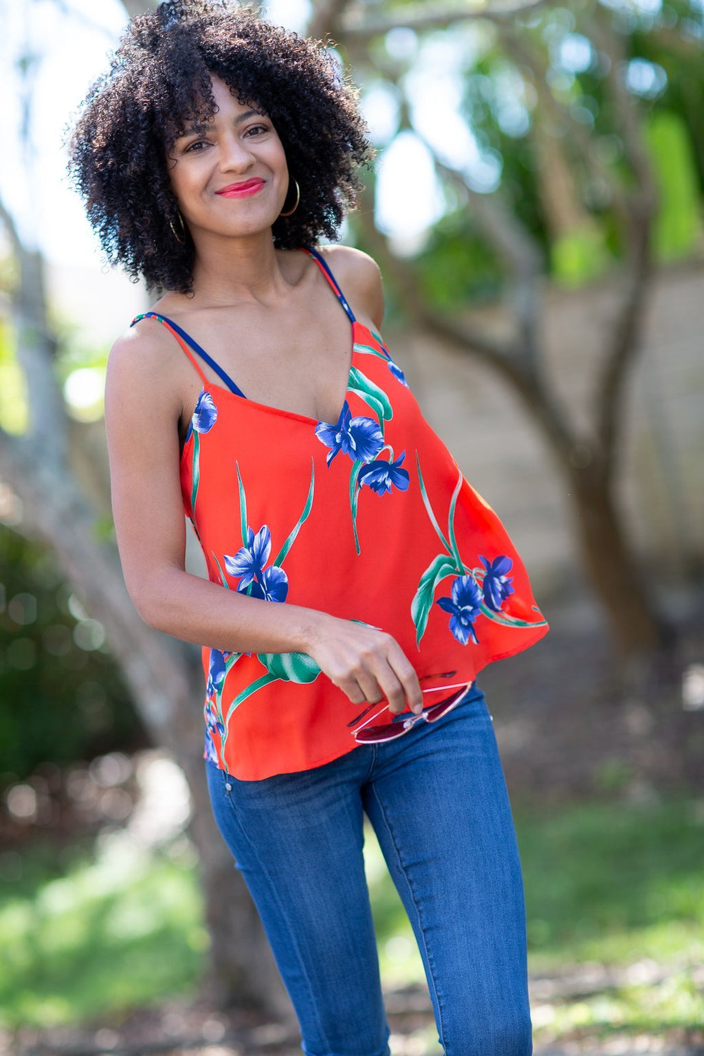 Taking Your Time Tropical Printed Tank Red - Hollie's Boutique