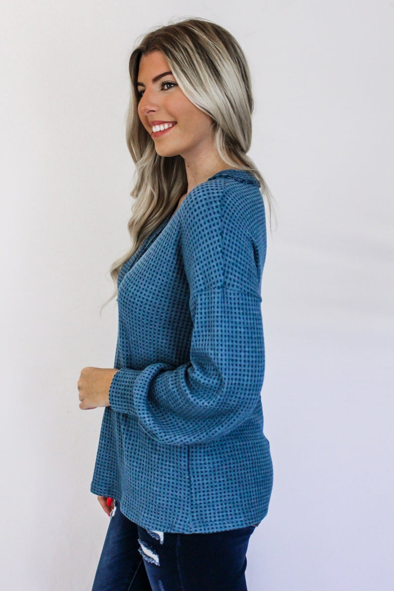 The Way You Love Waffle Knit V Neck - Hollie's Boutique