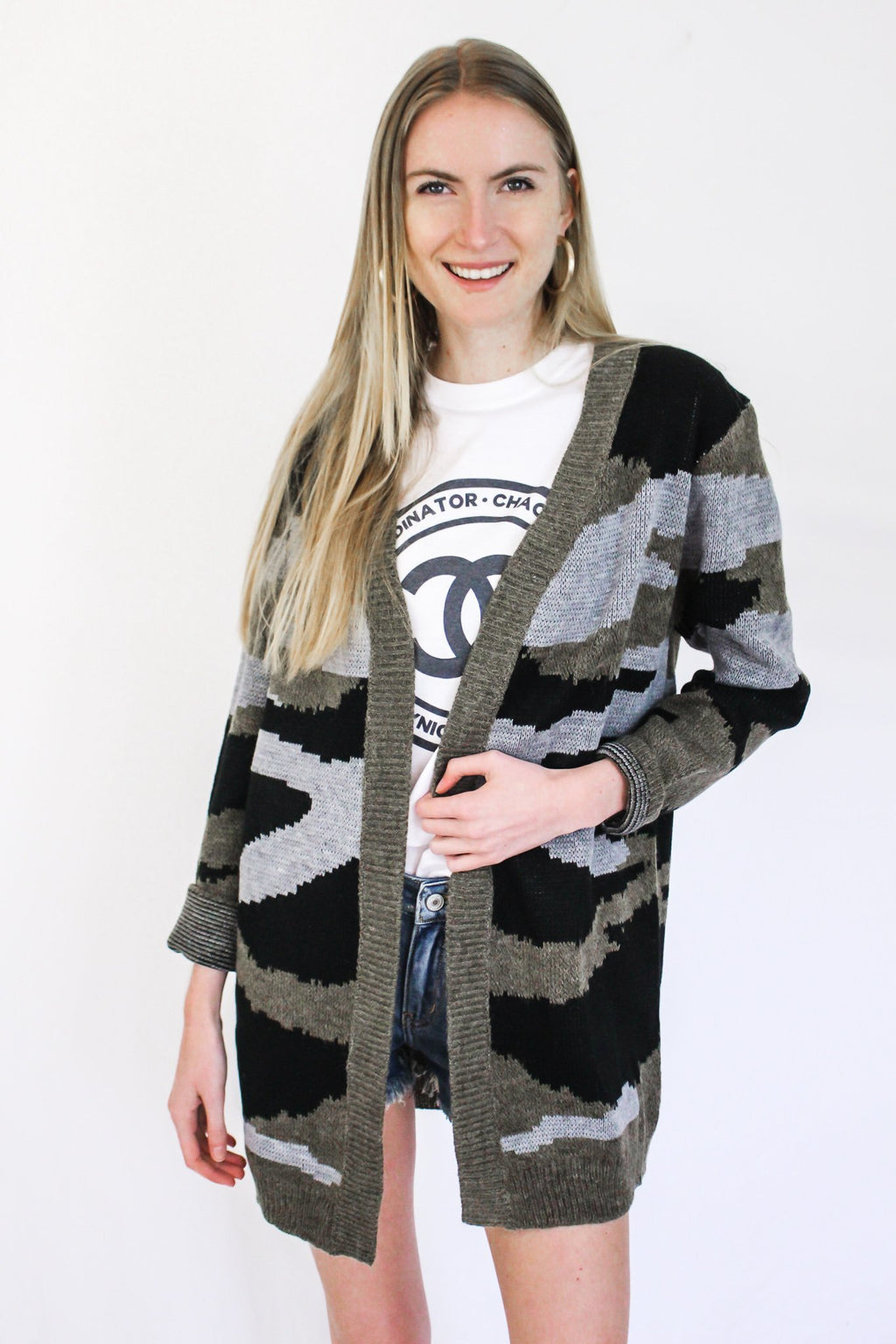This Time Around Camo Cardigan - Hollie's Boutique