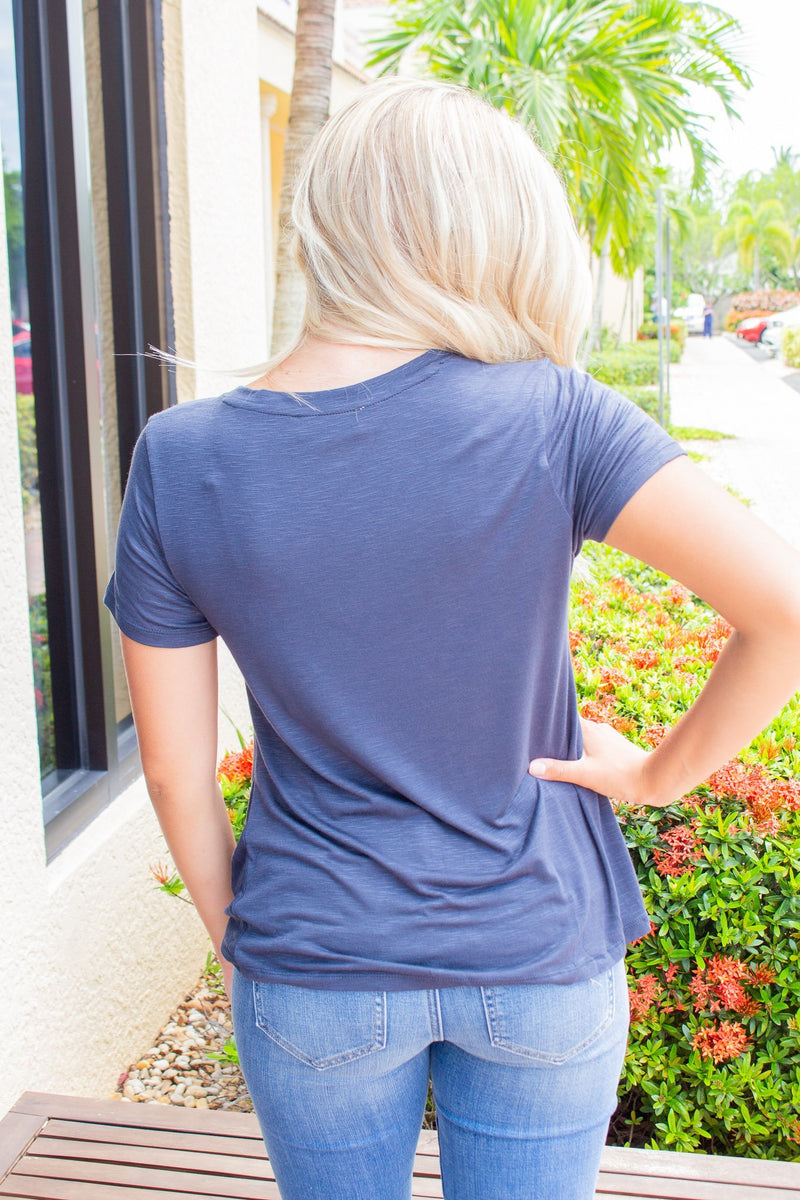 Twist Front Vneck Tee- Blue Night - Hollie's Boutique