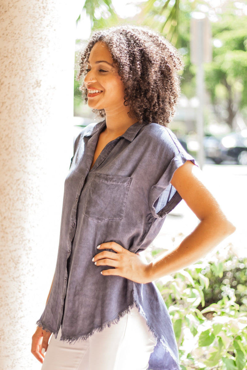 Washed Button Up Short Sleeve Top With Frayed Hemline - Hollie's Boutique