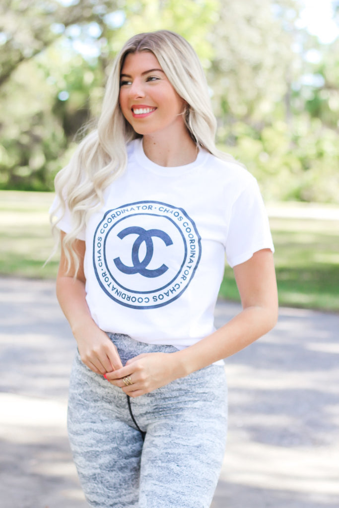 White CC Graphic Tee - Hollie's Boutique