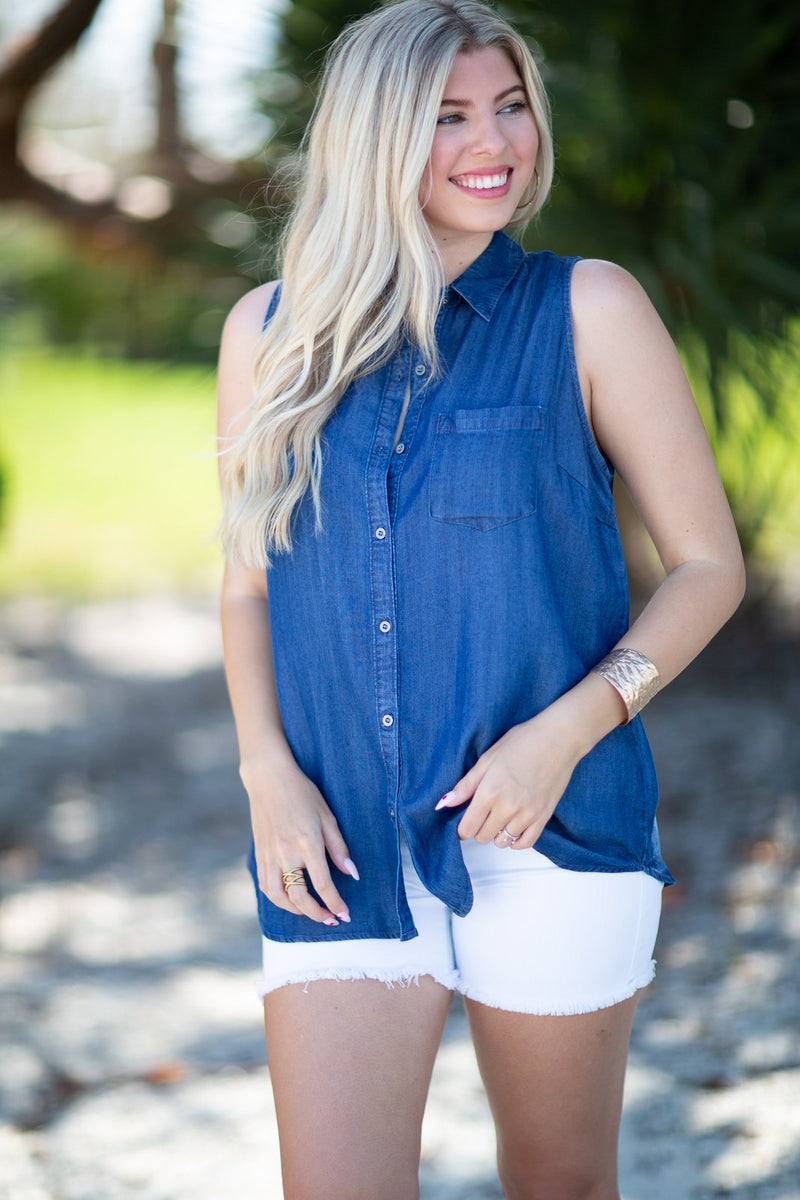 With You By My Side Sleeveless Denim Shirt - Hollie's Boutique