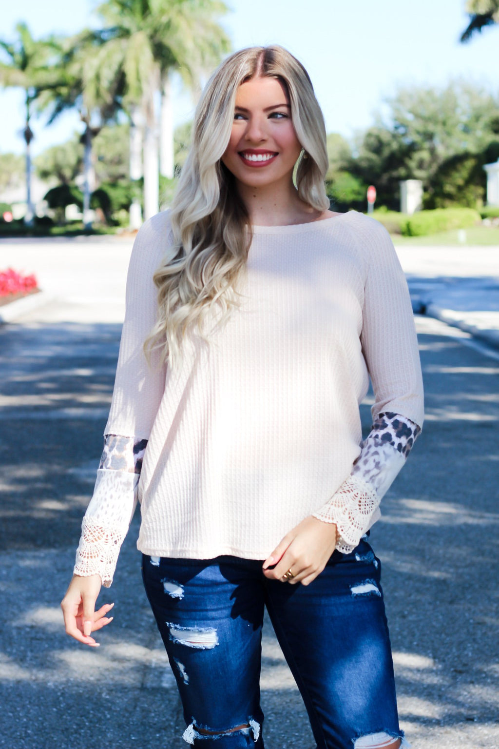 Won't Stop The Chase Leopard Print Top-Taupe - Hollie's Boutique