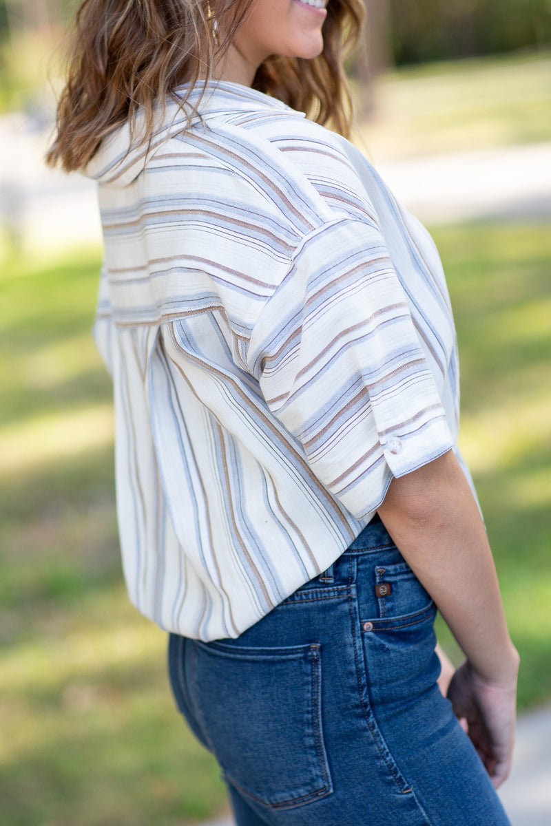 Write Your Story Tie Front Stripe Top - Hollie's Boutique