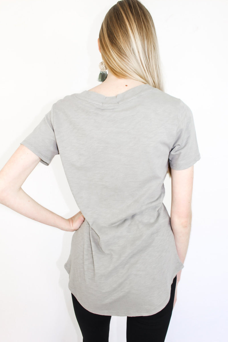 Z Supply Cotton Slub Pocket Tee Dusty Sage - Hollie's Boutique