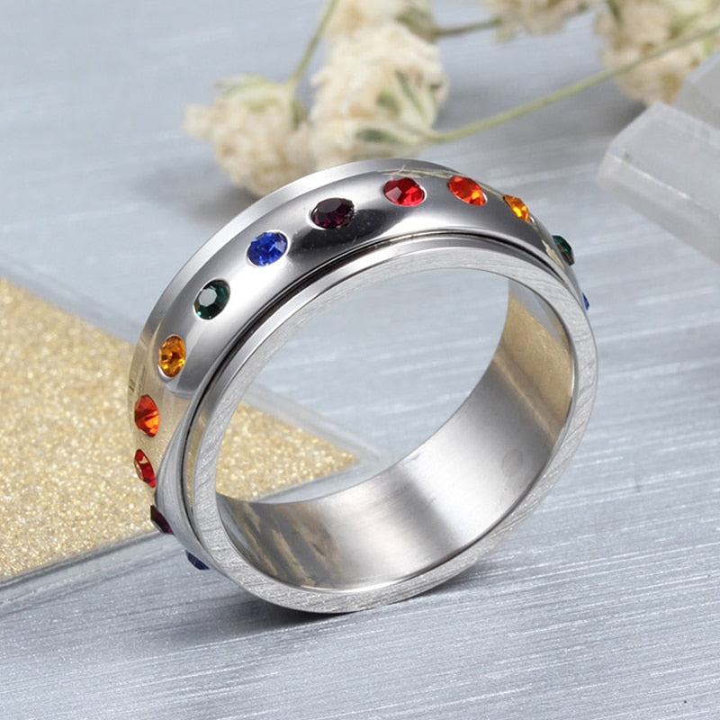 Rhinestone Rainbow Party Engagement Ring