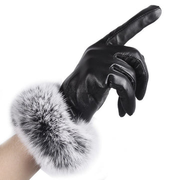 Trustworthy Warm Autumn Winter Gloves Black Leather Gloves Rabbit Fur Mittens Guantes Luva #LYW