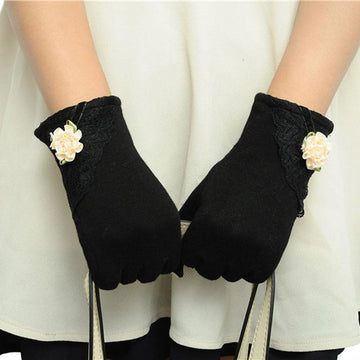 Touch Screen Mittens Cotton Leather Gloves