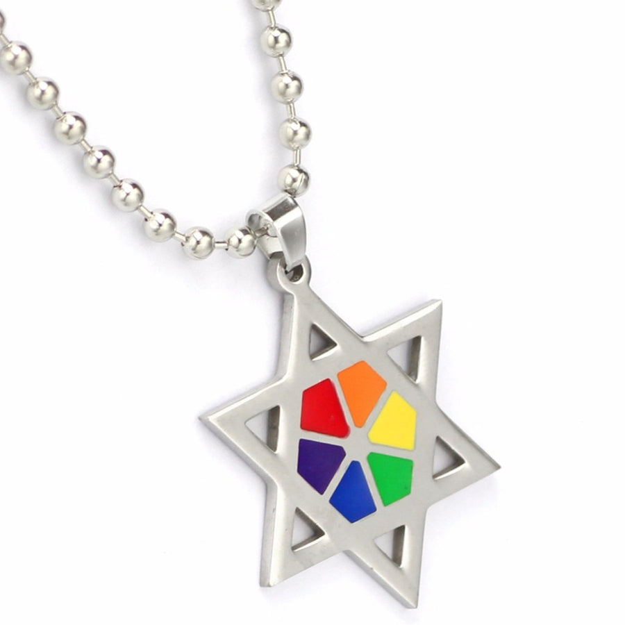 LGBT Rainbow Pentagram Stars Necklace Pendant