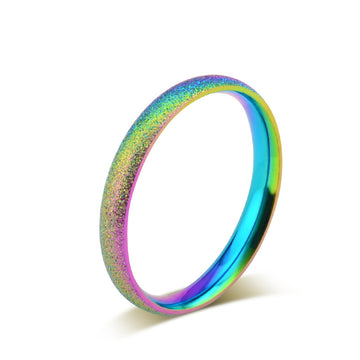 EAMIOR Rainbow Ring Titanium Stainless Steel Ring 3MM