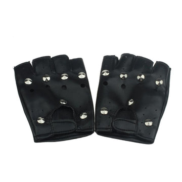 JECKSION Theatrical Punk Hip-hop Gloves With PU  Half-finger Leather Gloves Round Nail