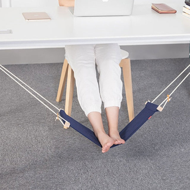 Portable Office Foot Stand Adjustable Travel Sling Home Desk Feet Hammock Relax