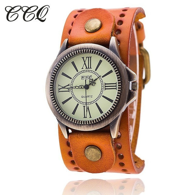 CCQ Brand LGBTQ Vintage Cow Leather Bracelet Wrist Watch